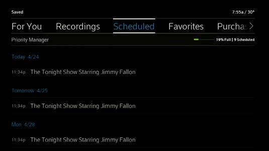 Scheduled recordings display.