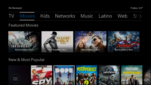 On Demand menu options include TV, Movies, Kids, Networks, Music, Latino, Web and more.