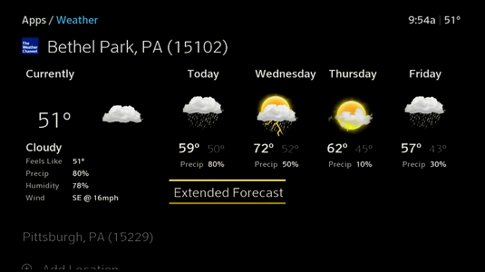 The forecast and an additional weather location are shown. Additional locations display at the bottom of the screen, below the forecast details on the left.