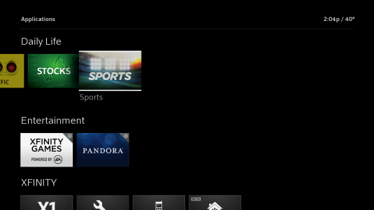 Applications screen: tiles are displayed and the Sports App is selected.