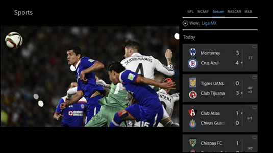 The Sports app appears on the right, live TV continues on the left.