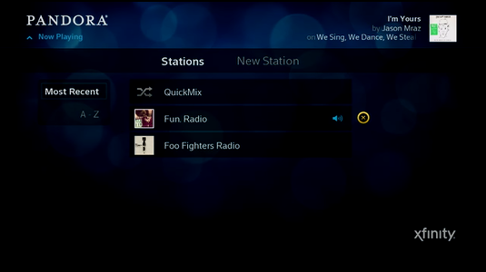 The list of stations is displayed; the x button is highlighted.