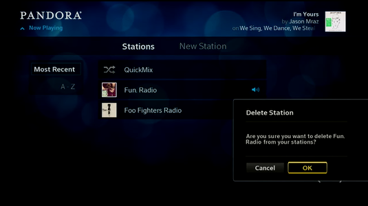 The list of stations is displayed; the ok button is highlighted.