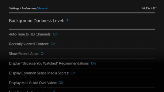 Background Darkness Level is highlighted, the first option on the General Preferences screen
