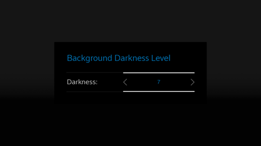 Darkness level is displayed as 7 with left and right arrows available to increase or decrease the darkness level