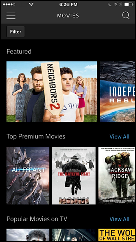 On Demand Movies screen.