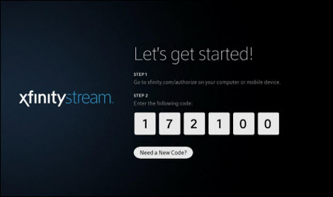 The Xfinity Stream activation screen.