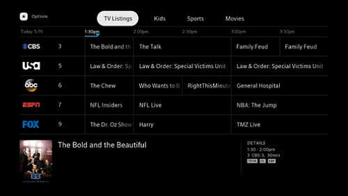 Live TV guide