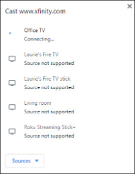 List of devices. Office TV option with Connecting listed underneath it.