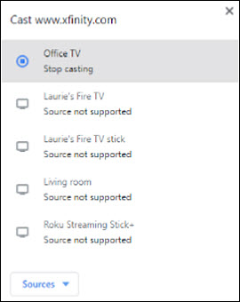 List of devices. Office TV option with Stop casting listed underneath it.