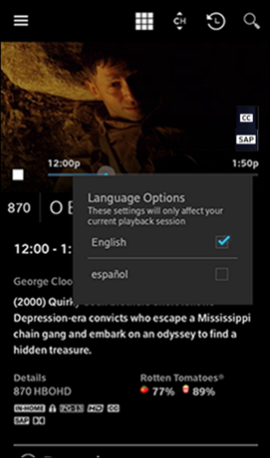 Accessibility Options in the Xfinity Stream App for Android