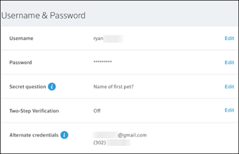 My Account Username & Password screen.