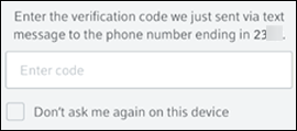 Code verification screen with option: Don't ask me again on this device