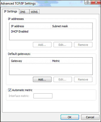 "Advanced TCP/IP Settings window displays with ""DHCP Enabled"" in top field."