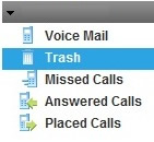 Trash is selected from a drop-down menu that also lists voice mail, missed calls, answered calls and placed calls