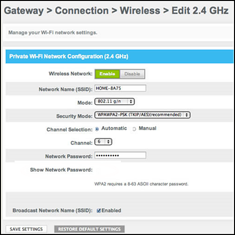 Private Wi-Fi Network Configuration screen display includes the Network password and a Show Network Password field.