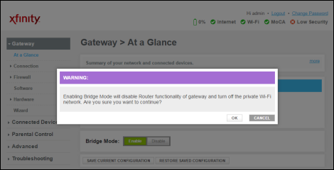 ANSWERED: How to turn Bridge Mode on and off on Xfinity modem