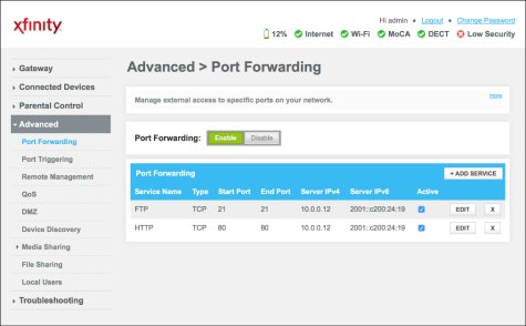 Port Forwarding screen with a '+ADD SERVICE' in the middle right.