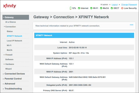 XFINITY Network information with WAN IP Address listed in the middle.