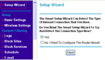 Clicking Setup Wizard takes you to Setup Wizard Window, which asks to detect the Internet Connection type. Select Yes in the checkbox and click next.