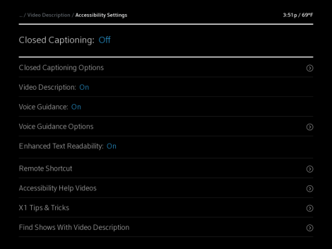X1 Accessibility Settings screen with Closed Captioning highlighted