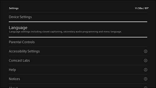 Settings menu with Language option highlighted.