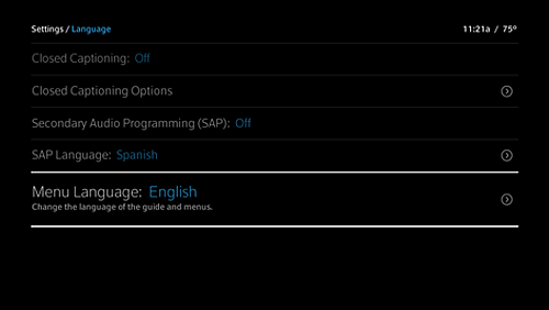 Settings > Language menu with Menu Language highlighted.