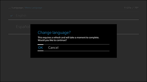 "Change language confirmation message:  ""This requires a refresh and will take a moment to complete. Would you like to continue?"""