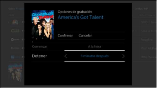 Opciones de grabación proporcionadas en español.