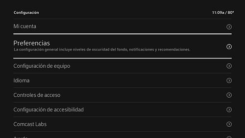 Menú de Configuración proporcionado en español.