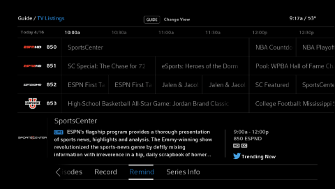"X1 TV Listings screen with a program selected and the ""Remind"" option highlighted."