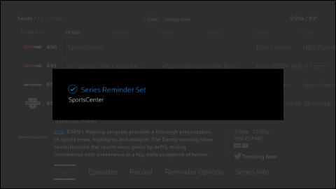 The Series Reminder Set confirmation message box.
