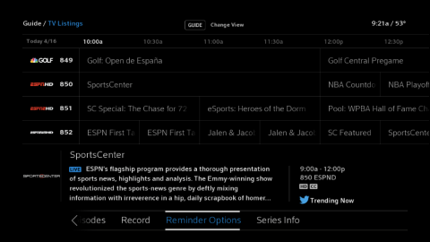 "X1 TV Listings screen with a program selected and ""Reminder Options"" highlighted."