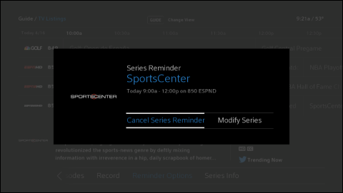 "Series Reminder for the SportsCenter program with ""Cancel Series Reminder"" option highlighted."