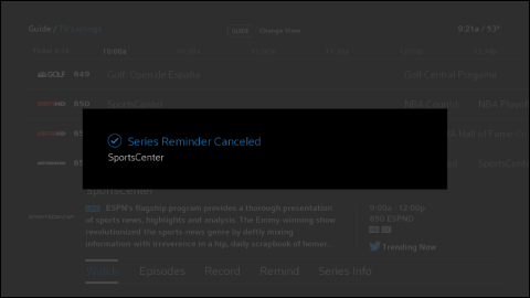 The Series Reminder Canceled confirmation message box.