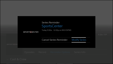 "The Series Reminder screen for SportsCenter with the ""Modify Series"" option selected."