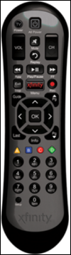 The XR2 remote, with black buttons.