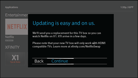 A dialogue box requesting a new TV box, with 'Back' and 'Continue' as options at the bottom.