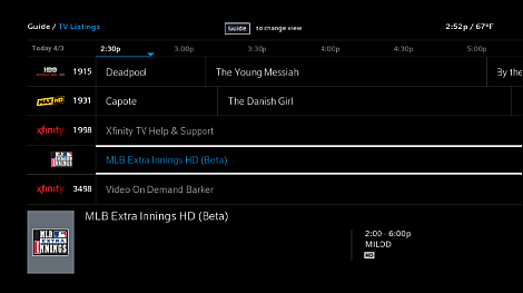 The MLB Extra Innings HD (Beta) channel is displayed among the channel lineup
