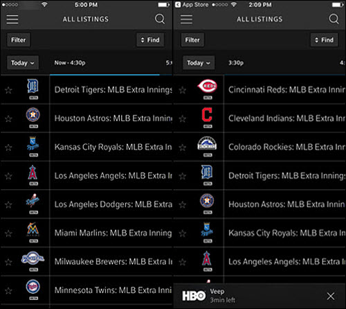 Stream app channel guide with MLB team logos.