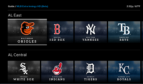 Numerous MLB team logos are displayed on the screen
