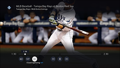 A screen shot of a live MLB game is displayed