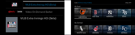 An MLB Extra Innings HD (Beta) tile is displayed on the left, and team logos are displayed in a new screen on the right