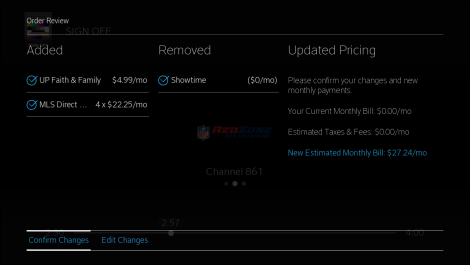 Order Review screen of Manage Channels app for X1