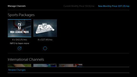 Manage Channels app home screen with Sports Packages