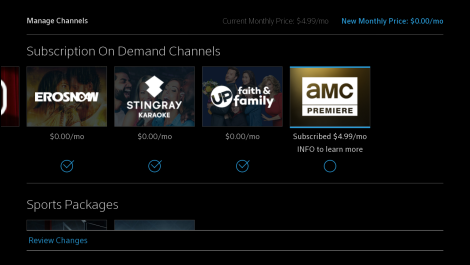 Manage Channels app home screen with Subscription On Demand Channels