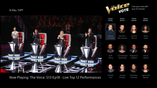 The Voice Voting screen with contestants on the right