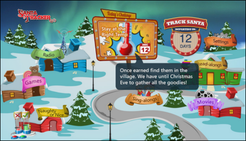 Santa Tracker main screen.