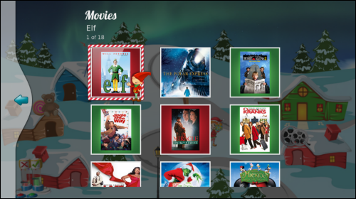 Movies section of Santa Tracker.