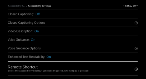 X1 Accessibility Settings screen, Remote Shortcut highlighted
